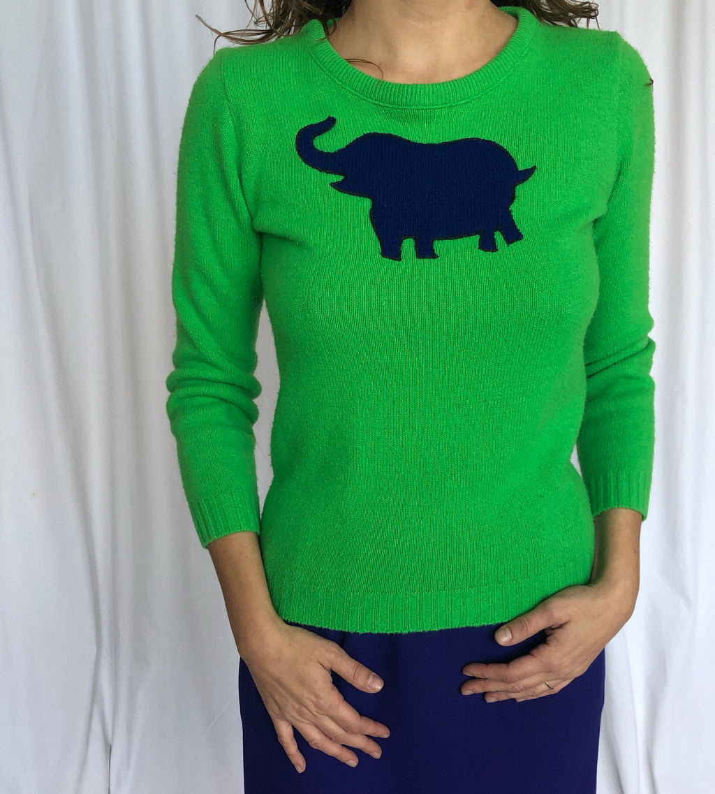 Vintage Sears Wool Bright Green Graphic Blue Elephant Sweater XS/S