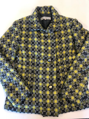 Givenchy Vintage 60s Tweed Yellow Grey Wool Jacket Made in France 40 S