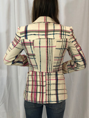 Christian Lacroix Bazar Cream Wool Check Blazer S