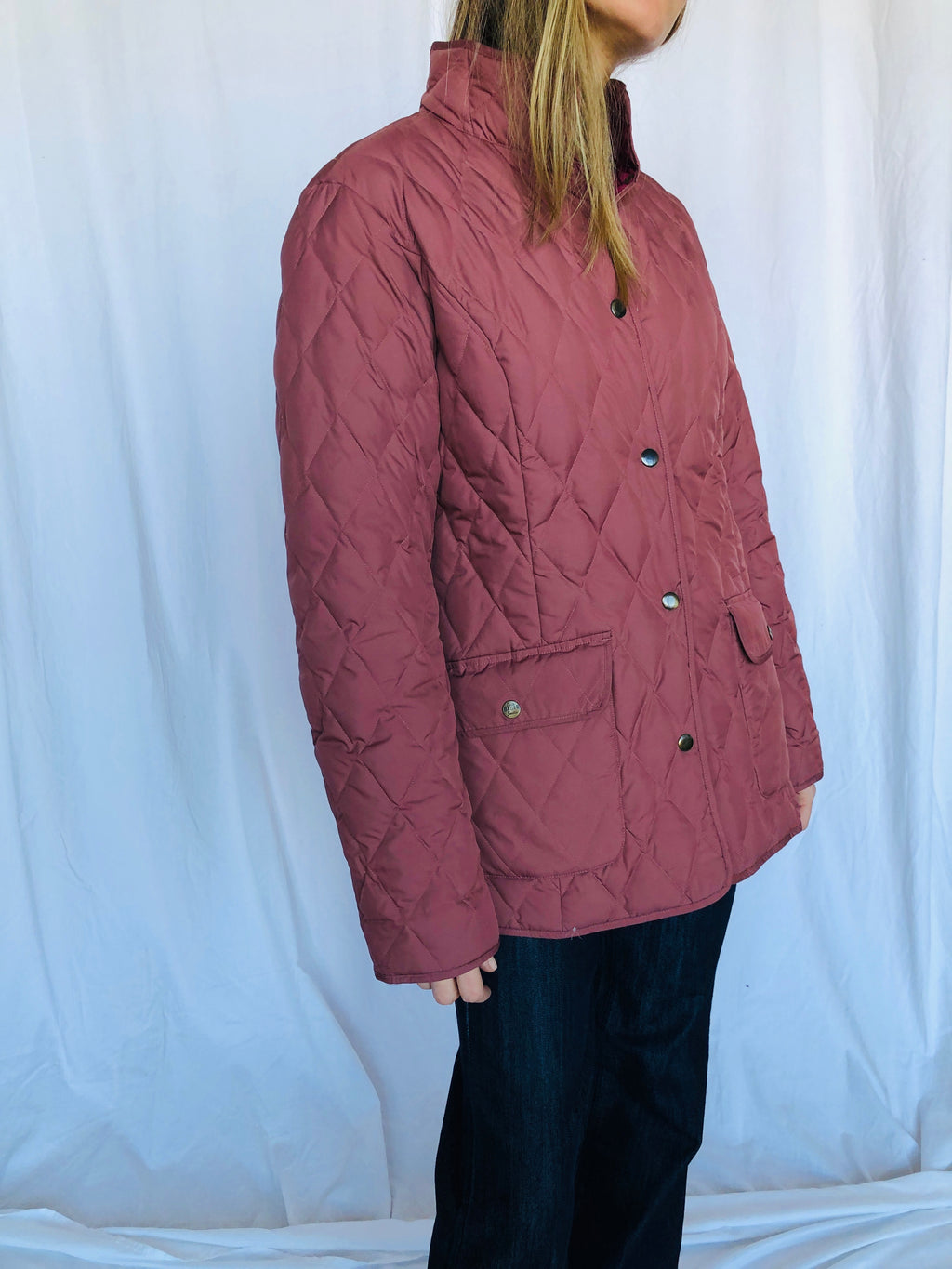 Eddie Bauer Mauve Lightweight Soft Premium Quality Goose Feather Down Coat Winter Jacket S