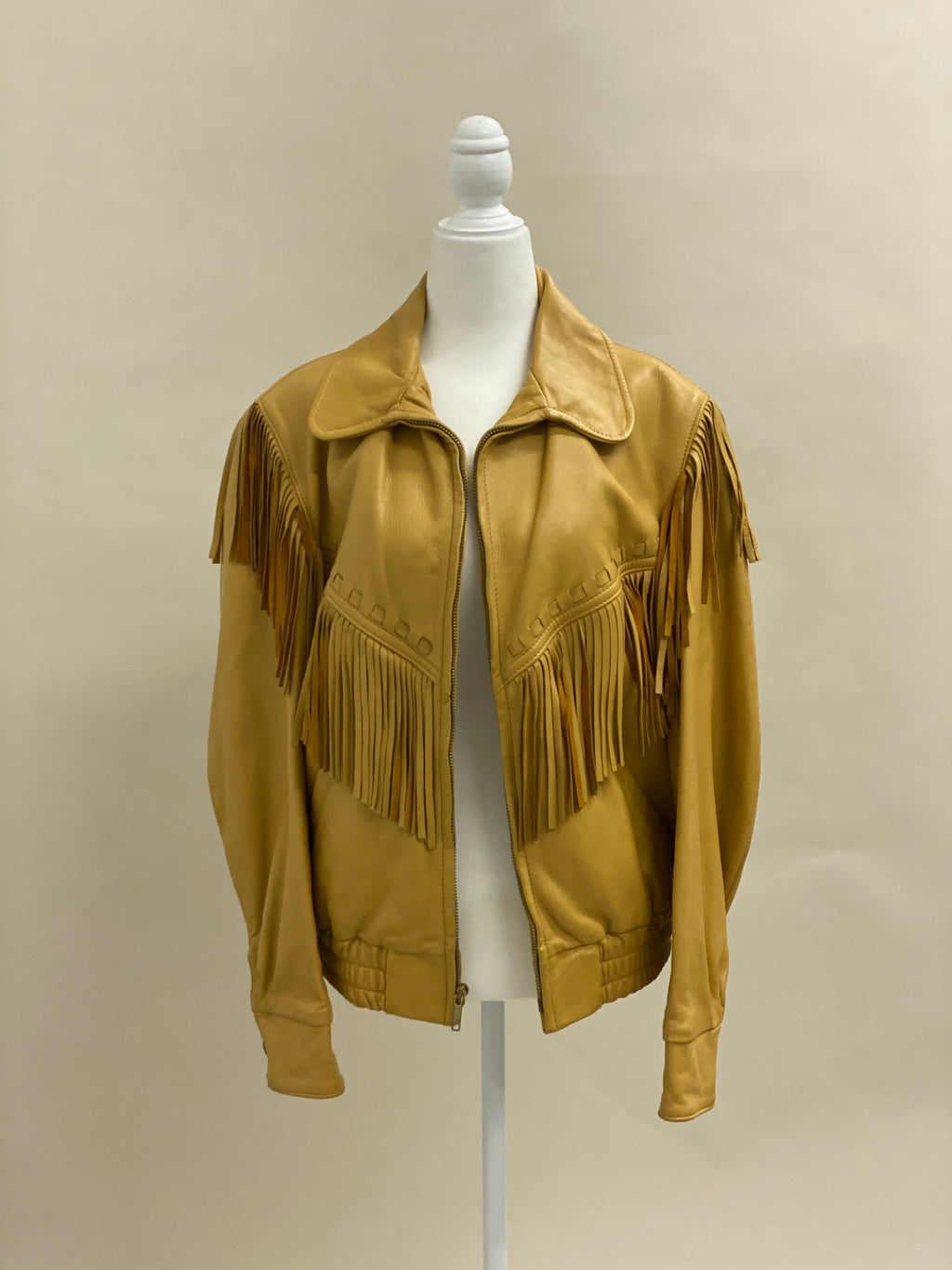 Deerskin Leather Bomber Fringe Jacket 12 M L