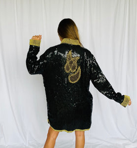Vintage Indian Silk Sequin Oversized Top Tunic Dress S M L