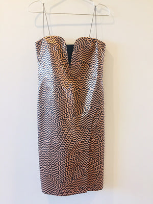 Kenzo Gold Zig Zag Evening Metallic Dress S/M