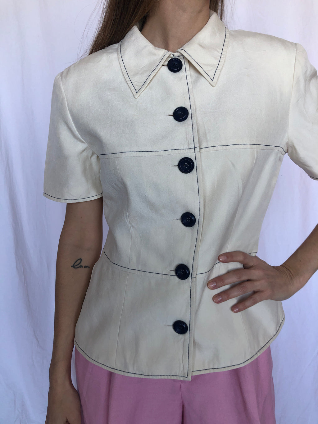 Adrianna Papell Vintage White Cream Blue Contrast Stitch Buttons Blouse 6 S