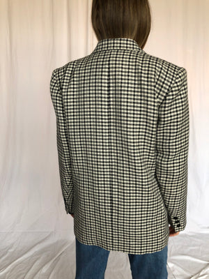 Guy Laroche Vintage Houndstooth Black White Wool Classic Double Breast Jacket Blazer Made in France 40 M