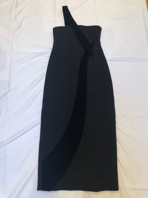 Carolina Herrera Vintage Velvet Wool Column Dress Maxi Formal S/M