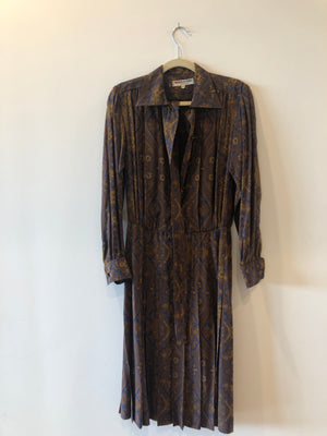YSL 70s Vintage Silk Pleated Shirt Dress S M