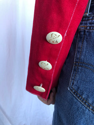 Bergdorf Goodman Vintage Red Cotton Motorcycle Short Jacket 6 S