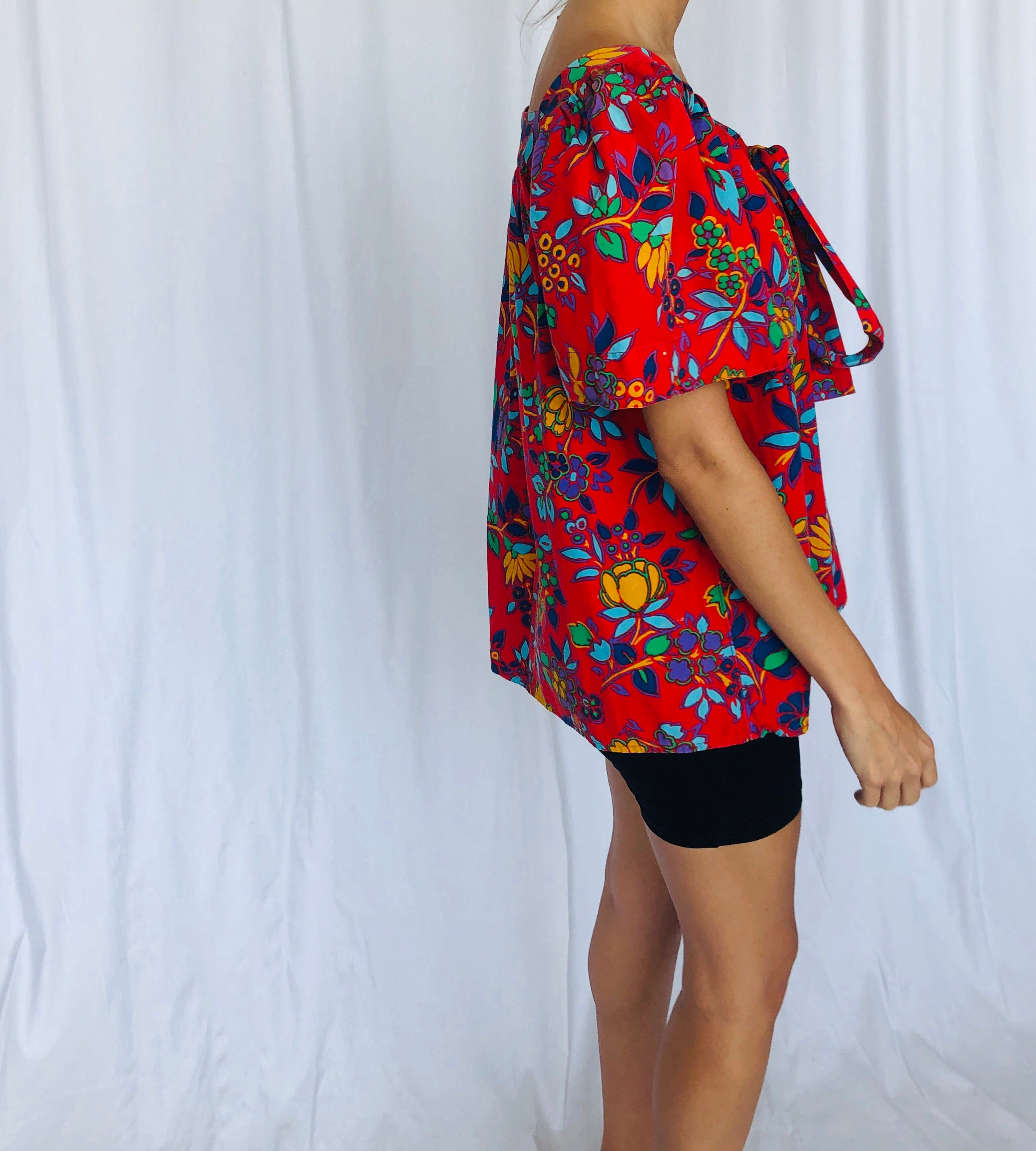 YSL 70s Vintage Saint Laurent Peasant Blouse Red Blue Cotton Floral 38 or S