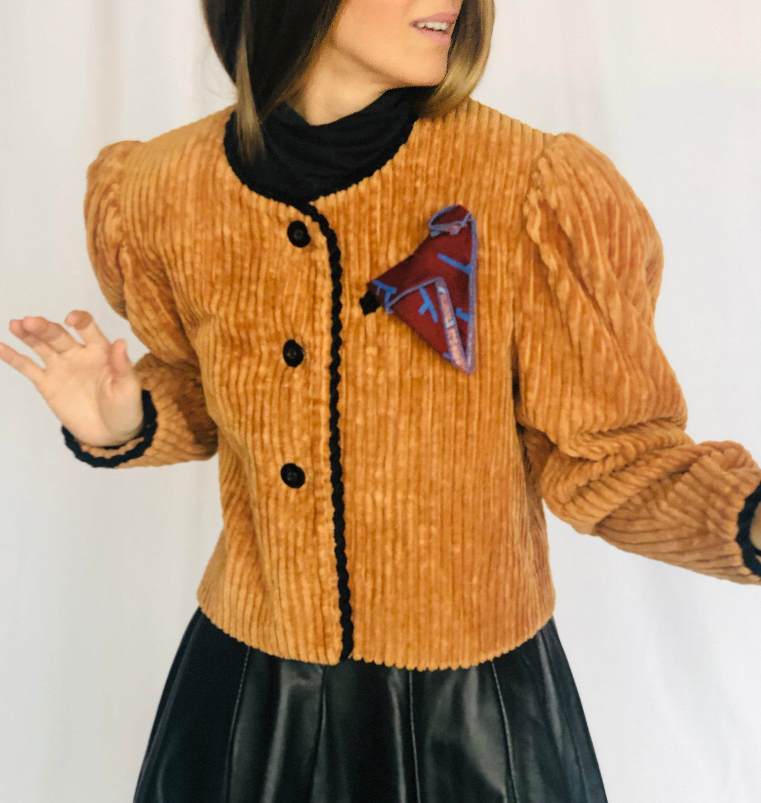 Jeanne Marc Vintage Brown Tan Deep Corduroy Short Jacket M