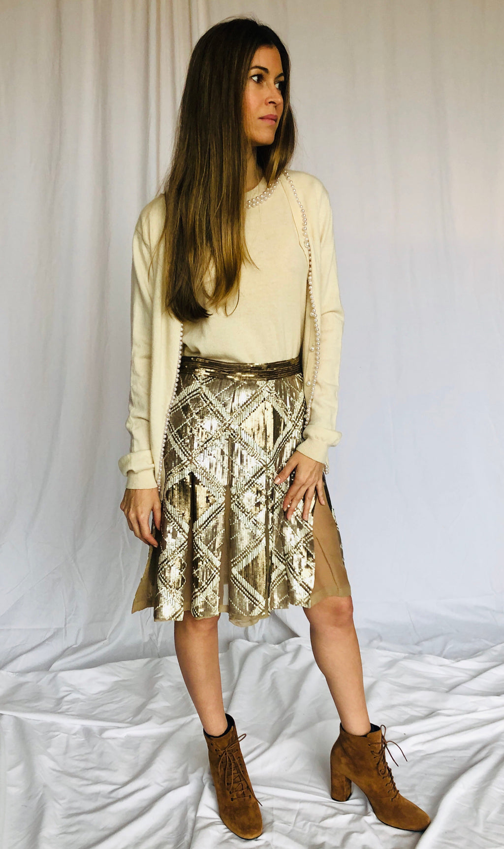 Valentino Vintage Sequin Argyle Gold Pleated Skirt XS