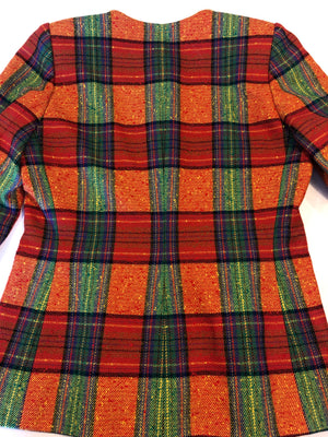 Givenchy Couture Vintage 90s Check Plaid Orange Red Green Jacket Blazer 38 S/M