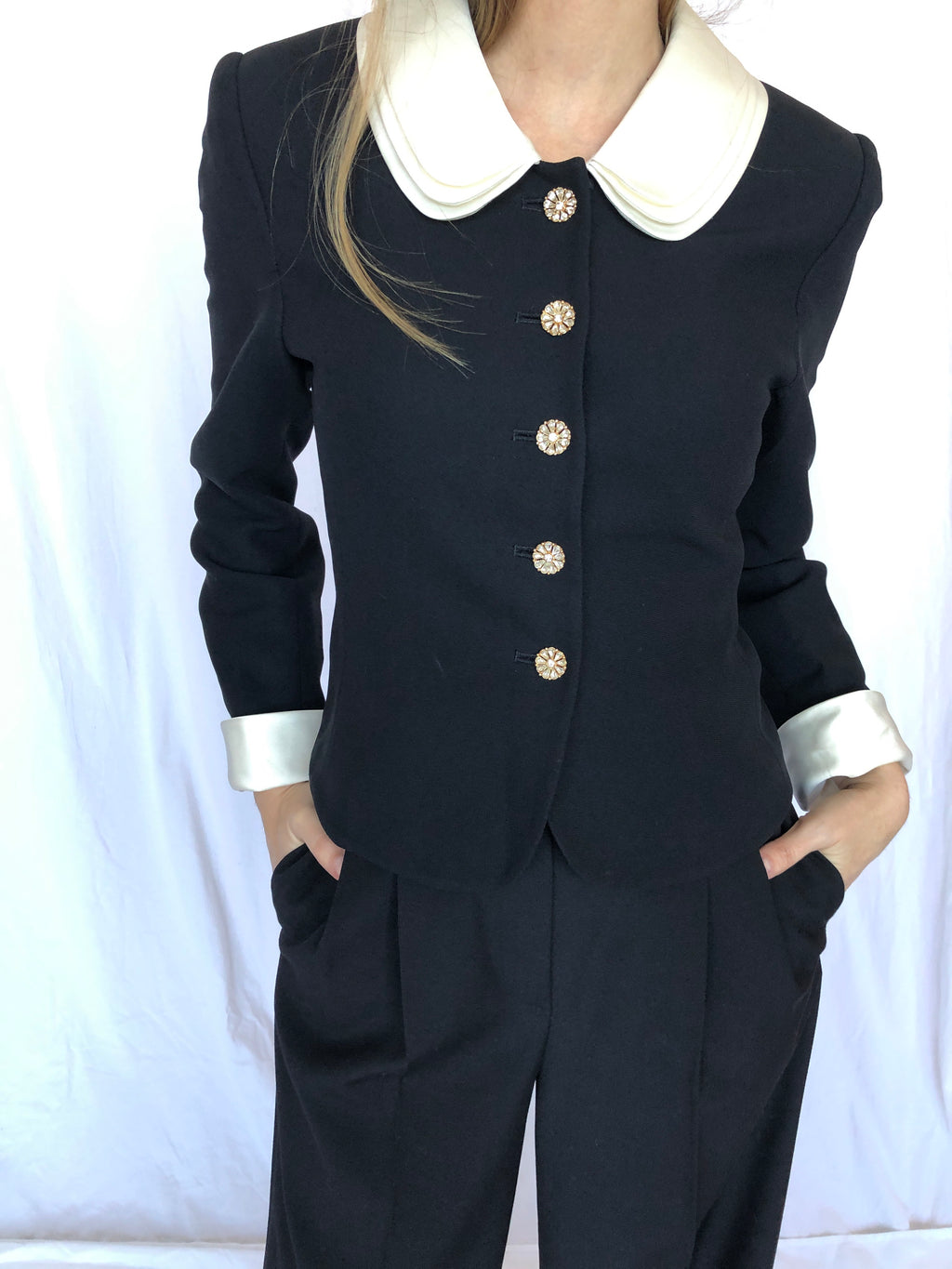 Albert Nipon Petite Vintage Black White Cuff Short Jacket 4P S