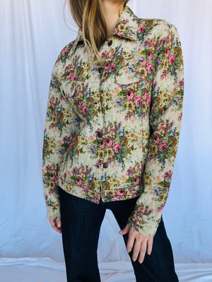 Bill Blass 90s Floral Tapestry Jean Jacket M