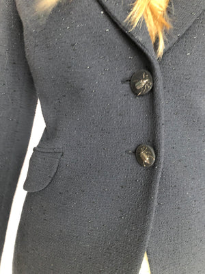 Moschino Cheap and Chic Dark Blue Little Shiny Fabric Detail Bug Button Blazer Jacket 6 S