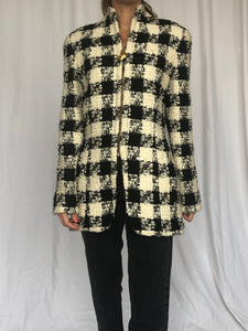 Anne Klein Houndstooth Boucle Wool Jacket S