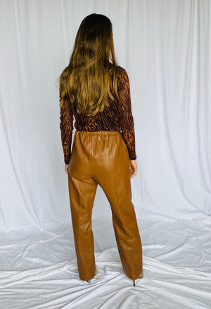 Saguaro Vintage Brown Leather Elastic Waist Trousers 6 S