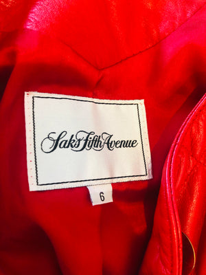 Saks Fifth Avenue Red Quilted Jacket S M