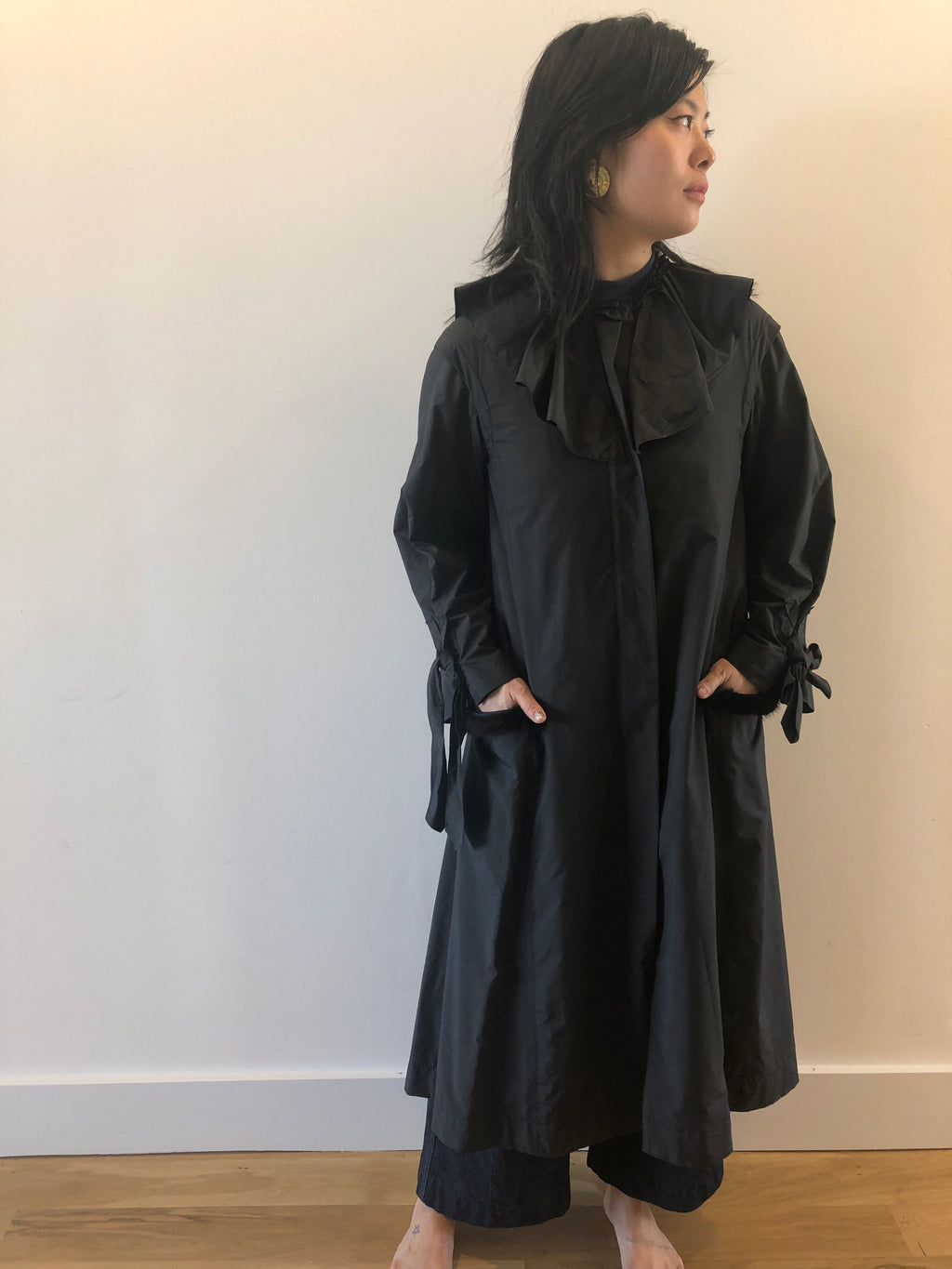 Nina Ricci Black Rain Lightweight Jacket Coat Cape 38