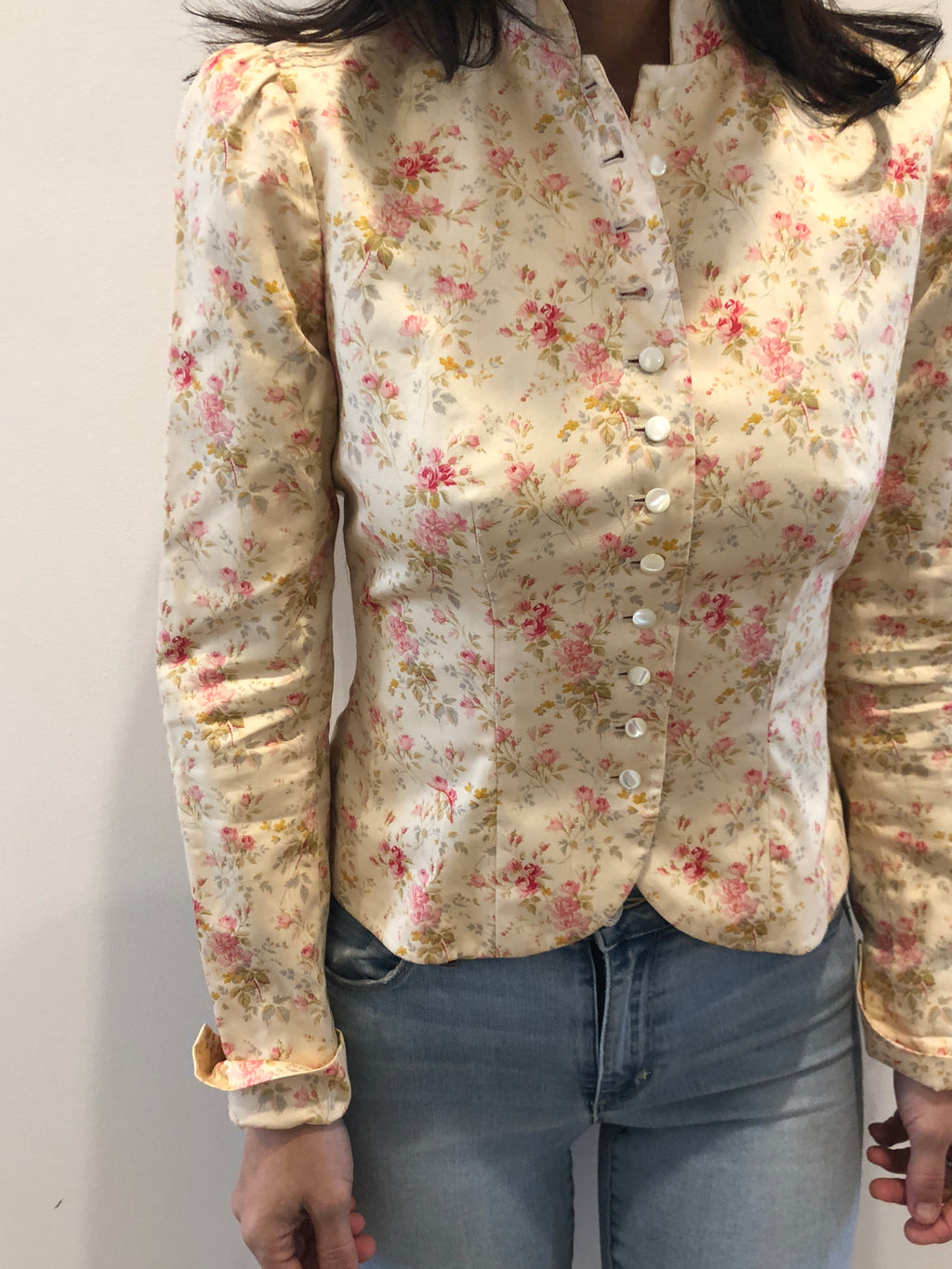Ralph Lauren Cotton Prairie Romantic Victorian Calico Button Down Light Jacket Top 2 XS/S