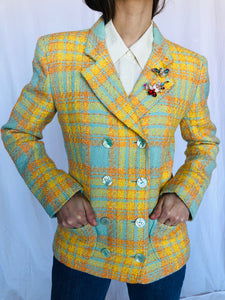 Emanuel Ungaro Vintage Tweed Yellow Checkered Green Wool Cotton Double Breast Short Jacket S M