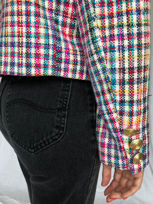 Doncaster Vintage Woven Silk Rainbow Short Jacket M