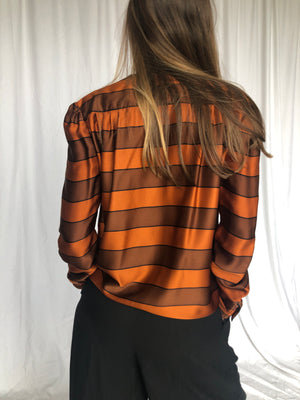 Valentino 80s Orange Silk Striped Blouse 6