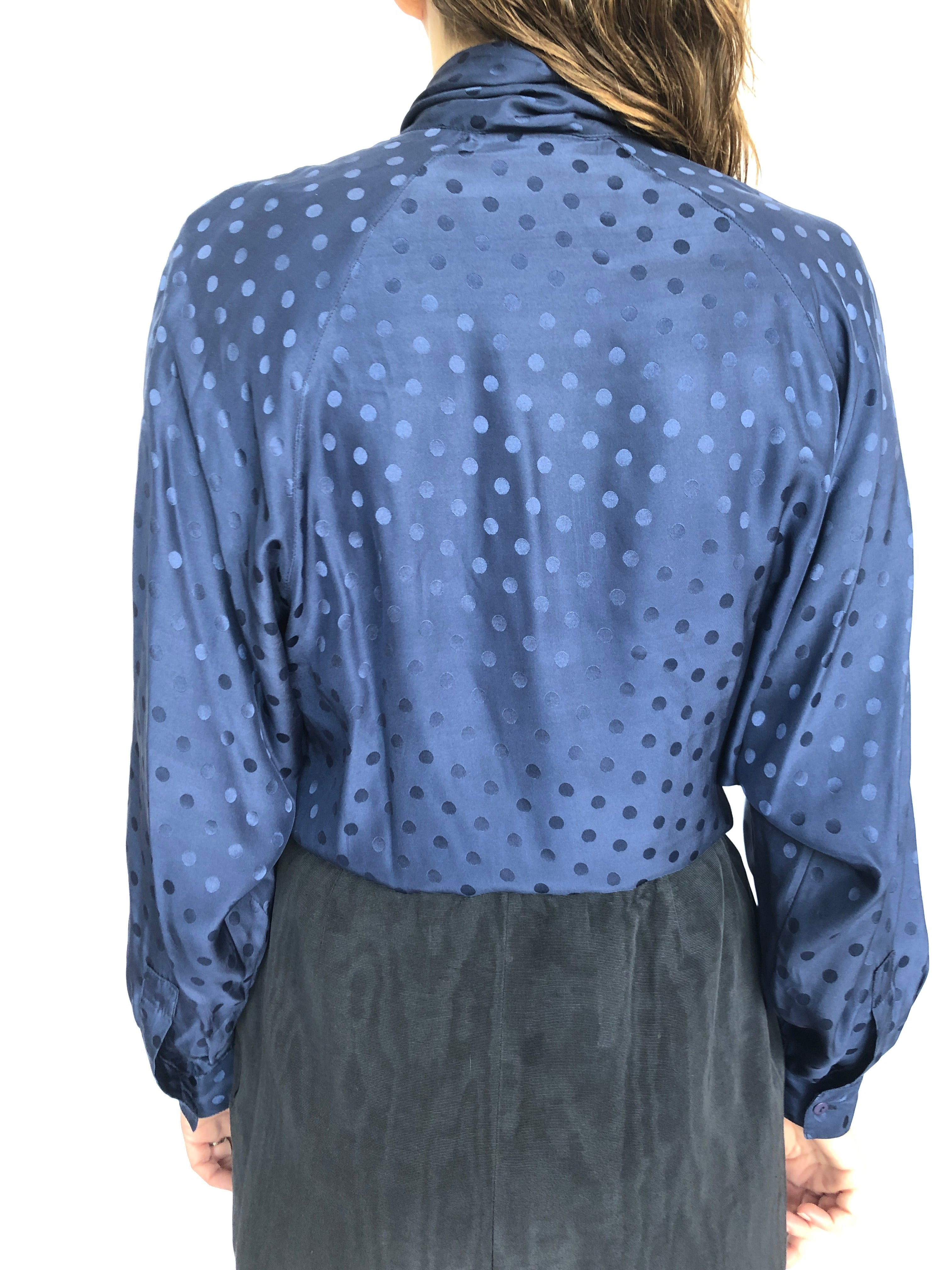 Rafaella Dark Blue Silk Shiny Polka Dots Scarf Long sleeve Shirt 8 M