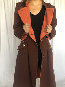 Givenchy Couture Brown Salmon Cashmere Military Coat M