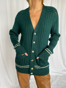Pierre Cardin Hunter Green Rib Knit Cardigan M
