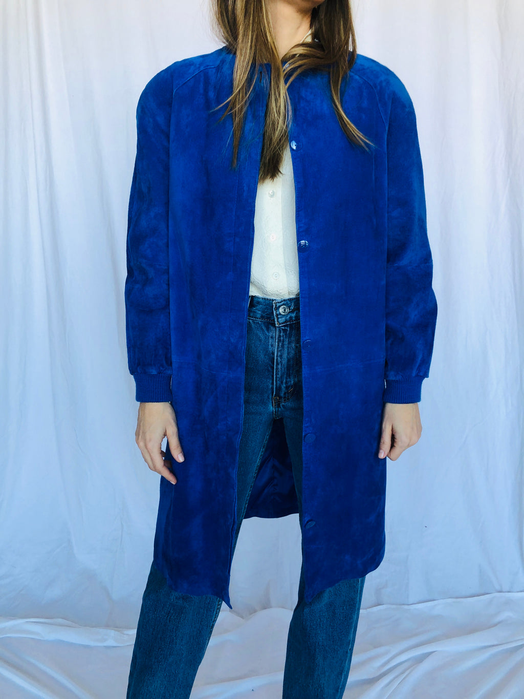 Saks Fifth Avenue Vintage Royal Blue Suede Leather Shoulder pads Long Coat Jacket S
