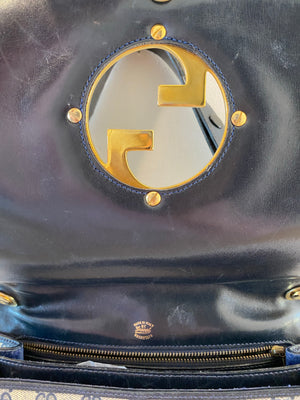 Gucci Vintage Logo Mania Dark Blue Grey Leather Golden Metal Purse Shoulder Bag