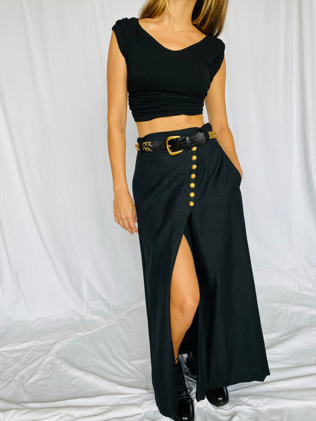 Neiman Marcus 90s Black Gold Wrap Belted Slit Skirt 6