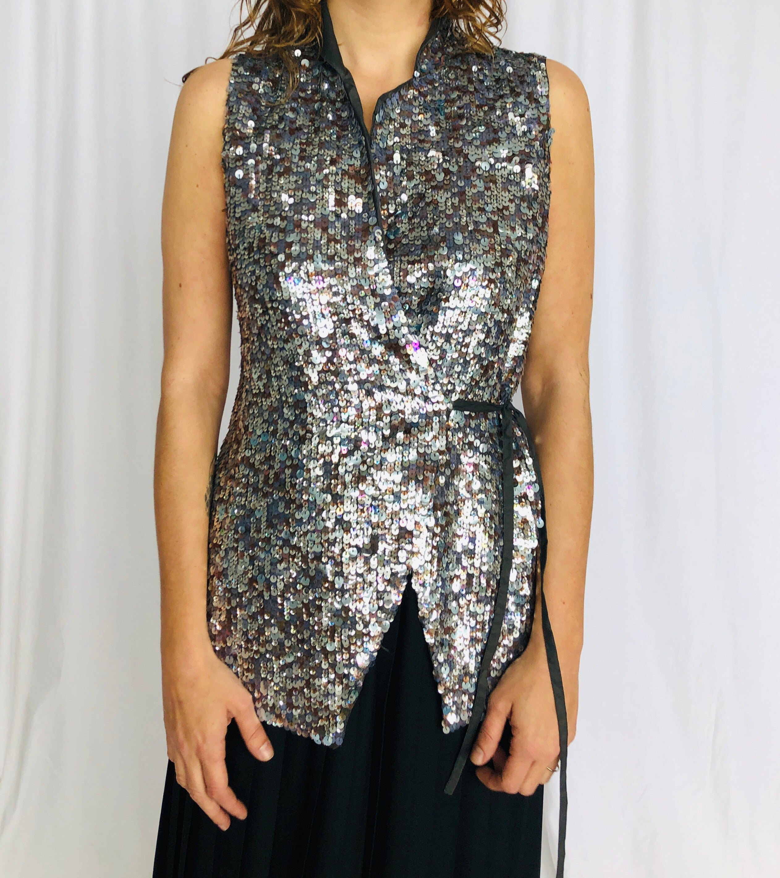 Dries Van Noten Sequin Wrap Vest S