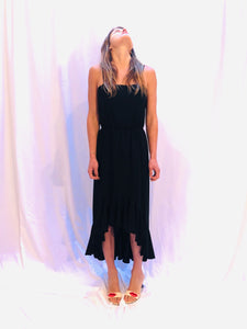Vintage Oscar de La Renta Union Made 90s Ruffle Hem Black Strap Dress 6 S