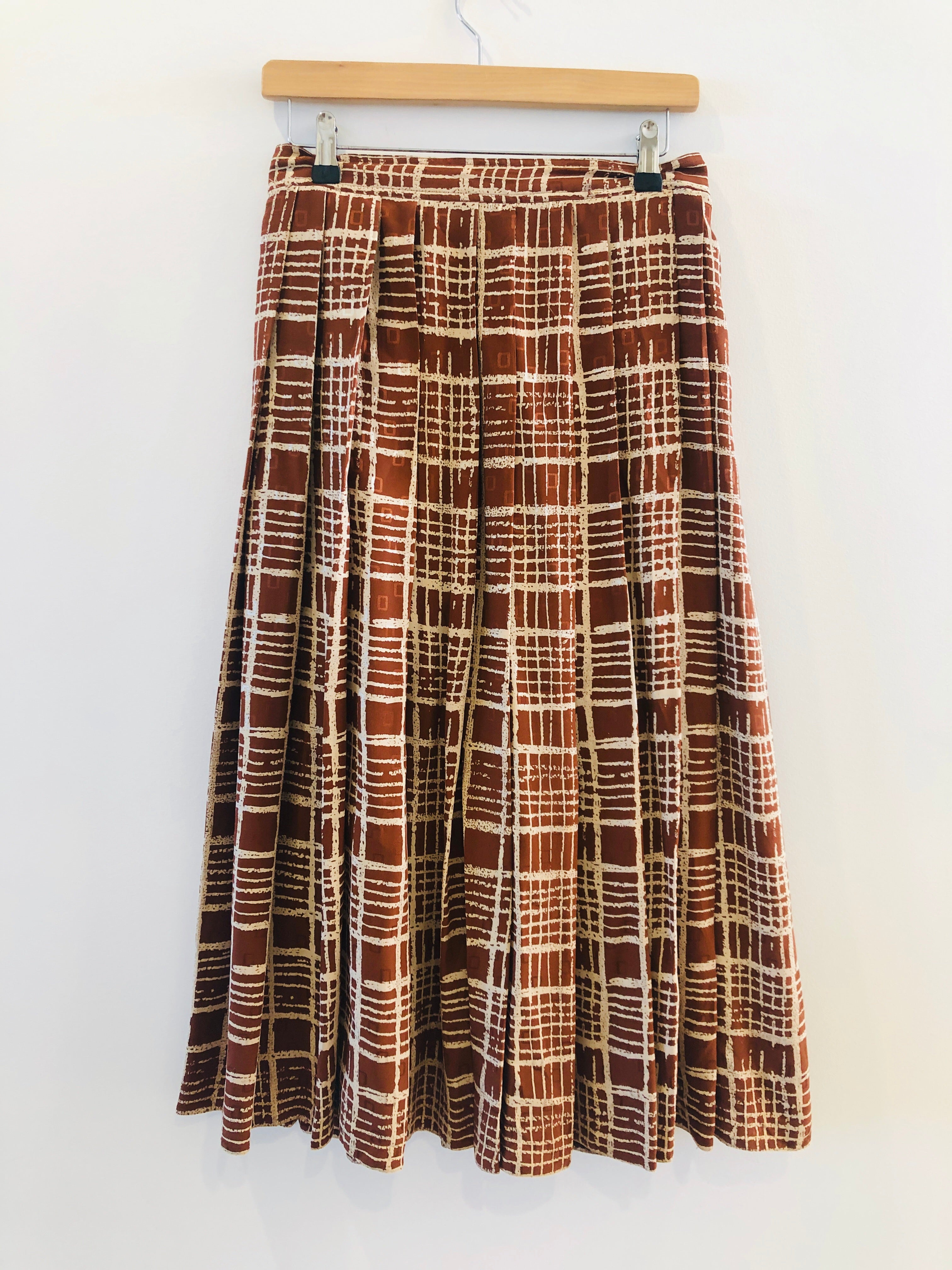 Vintage White and Brown Plaid Silk Pleated Midi Skirt S/M