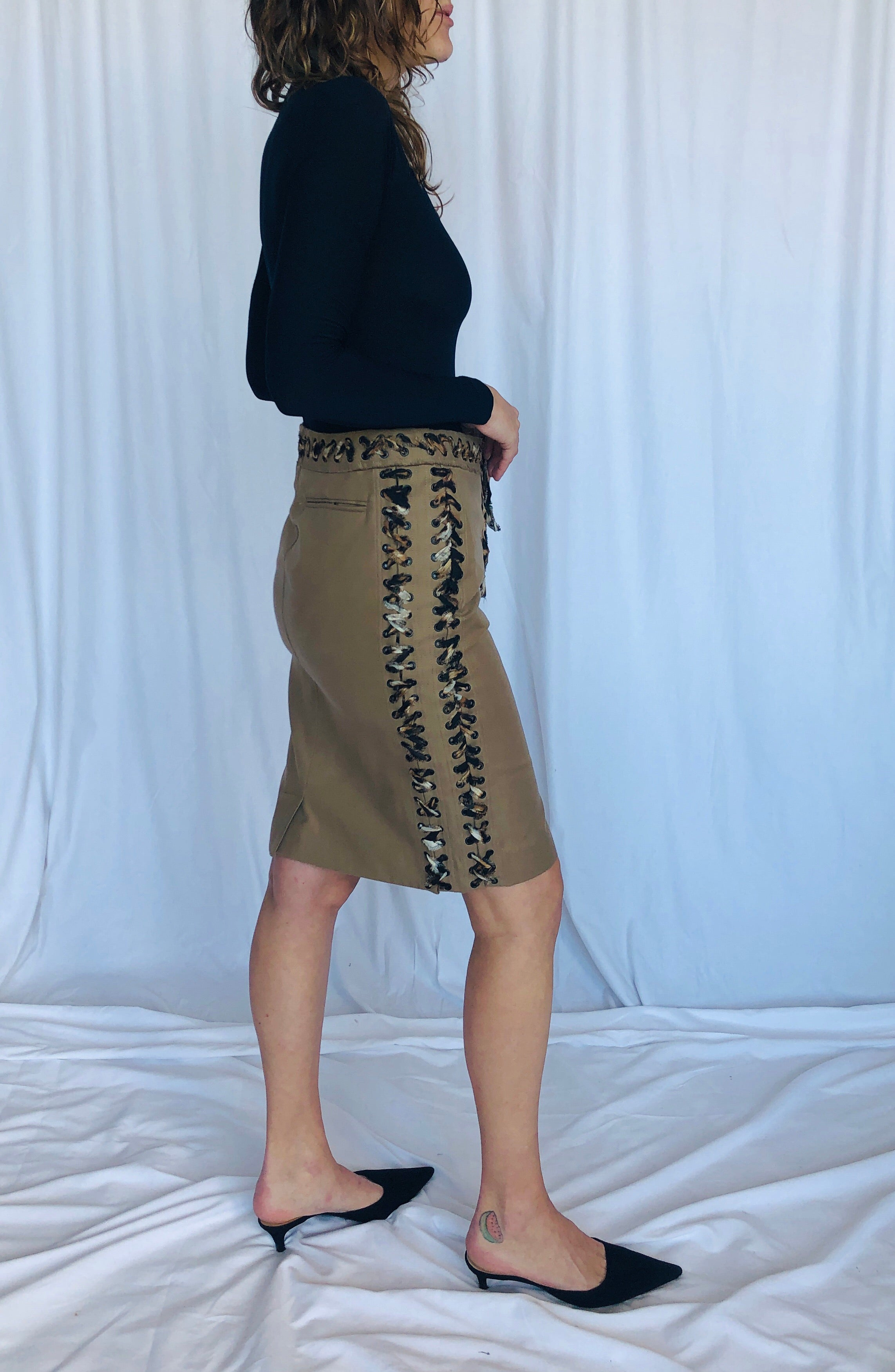 YSL Yves Saint Laurent Vintage Tom Ford Cotton Safari Tie Up Skirt FR36 S