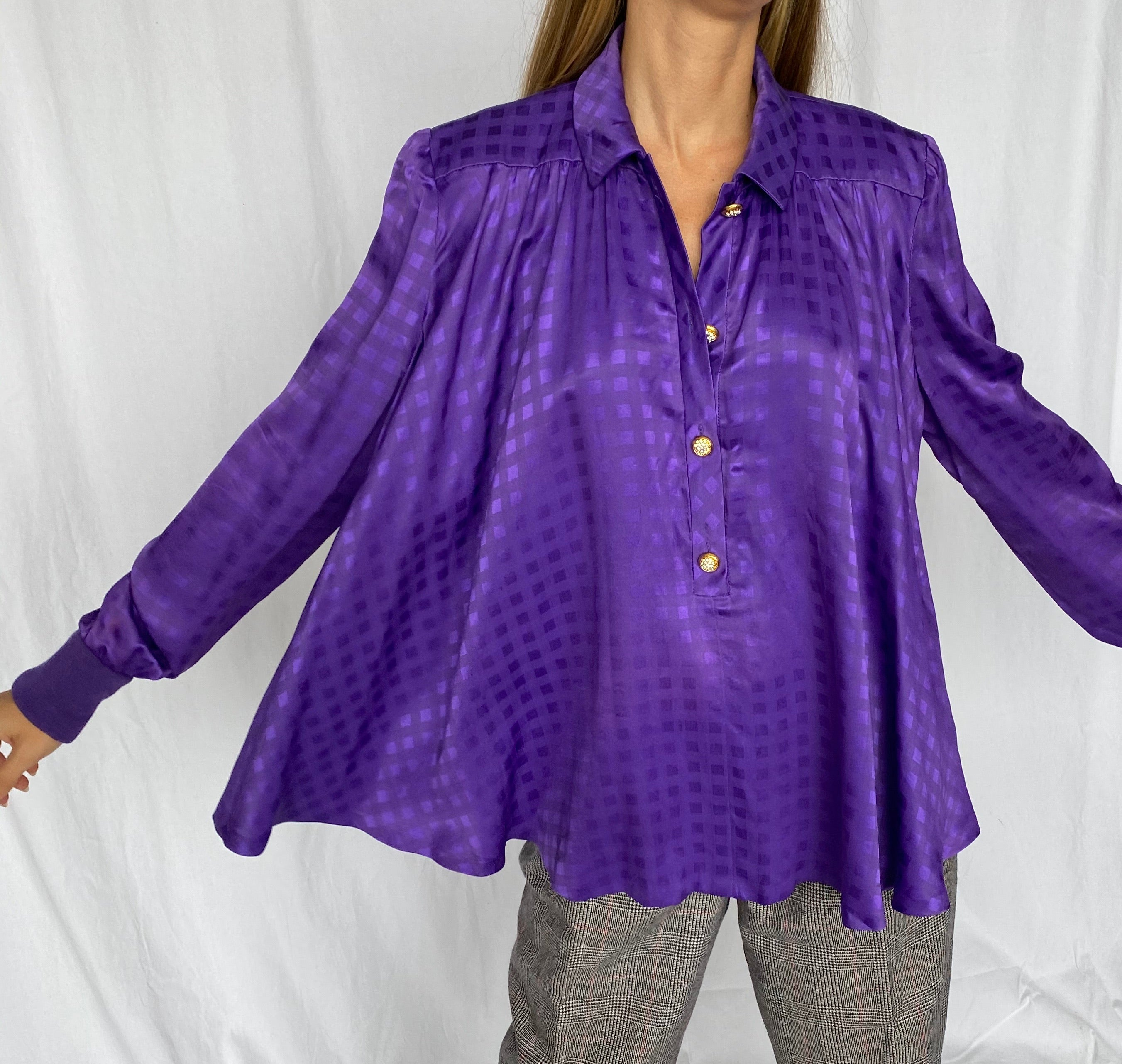 Valentino Night Satin Purple Gingham Rhinestone Swing Top S M