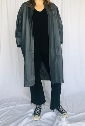 Jean Muir London Petrol Grey Leather Cocoon Coat UK8 S