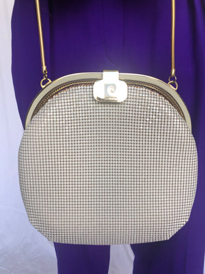 Pierre Cardin Chain White Gold Disco Clutch Handbag