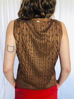 St John Cable Knit Bronze Metallic Vest Knit M
