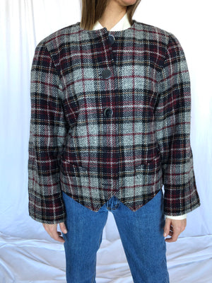 Yves Saint Laurent Vintage Plaid Grey Blue Red Wool Shoulder Pads Short Jacket 44 M L