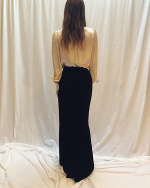 Givenchy Vintage Velvet Formal Fishtail Maxi Skirt XS