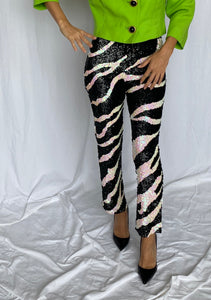 Hugo Buscati Sequin Zebra Pants Leggings XS