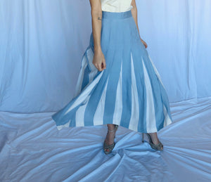 Peter Nygard for Saks Fifth Avenue Vintage Baby Blue White Silk Plaid Skirt Mint New with tags 8 S