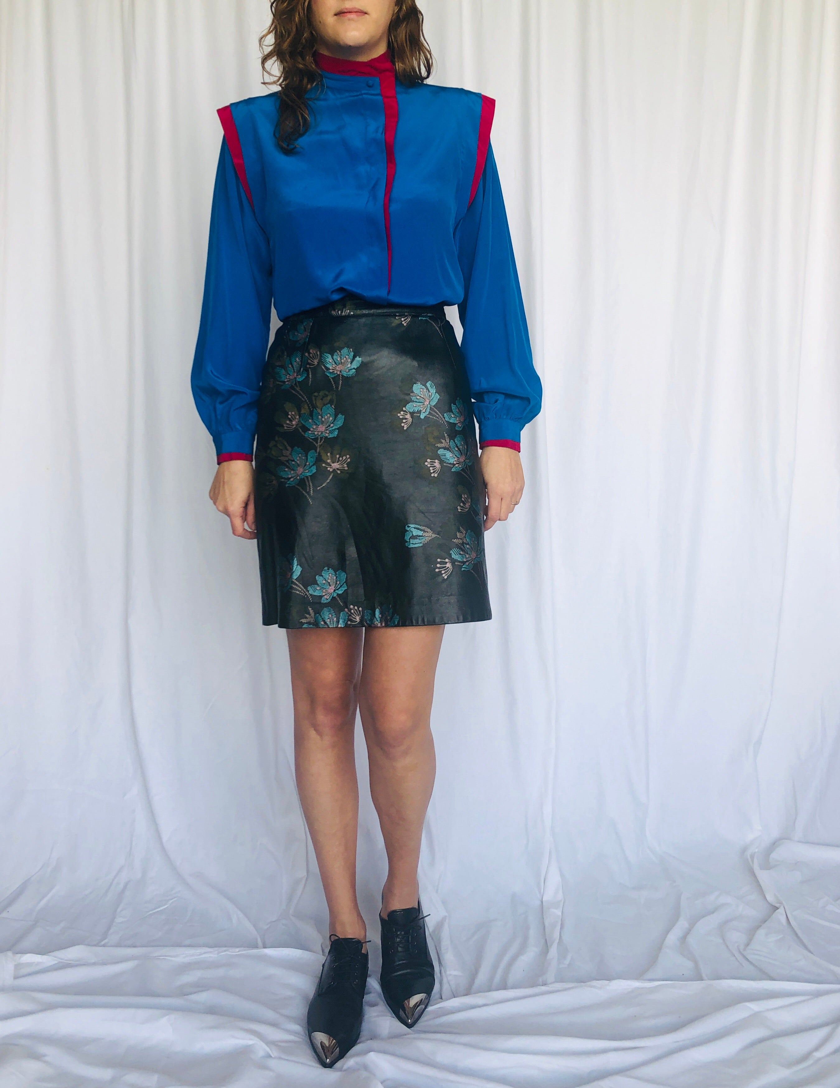 Vintage Hand Painted Leather Skirt Floral XS S