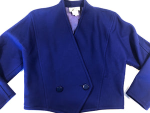 Courreges Vintage 80s Bright Blue Short Wool Jacket M