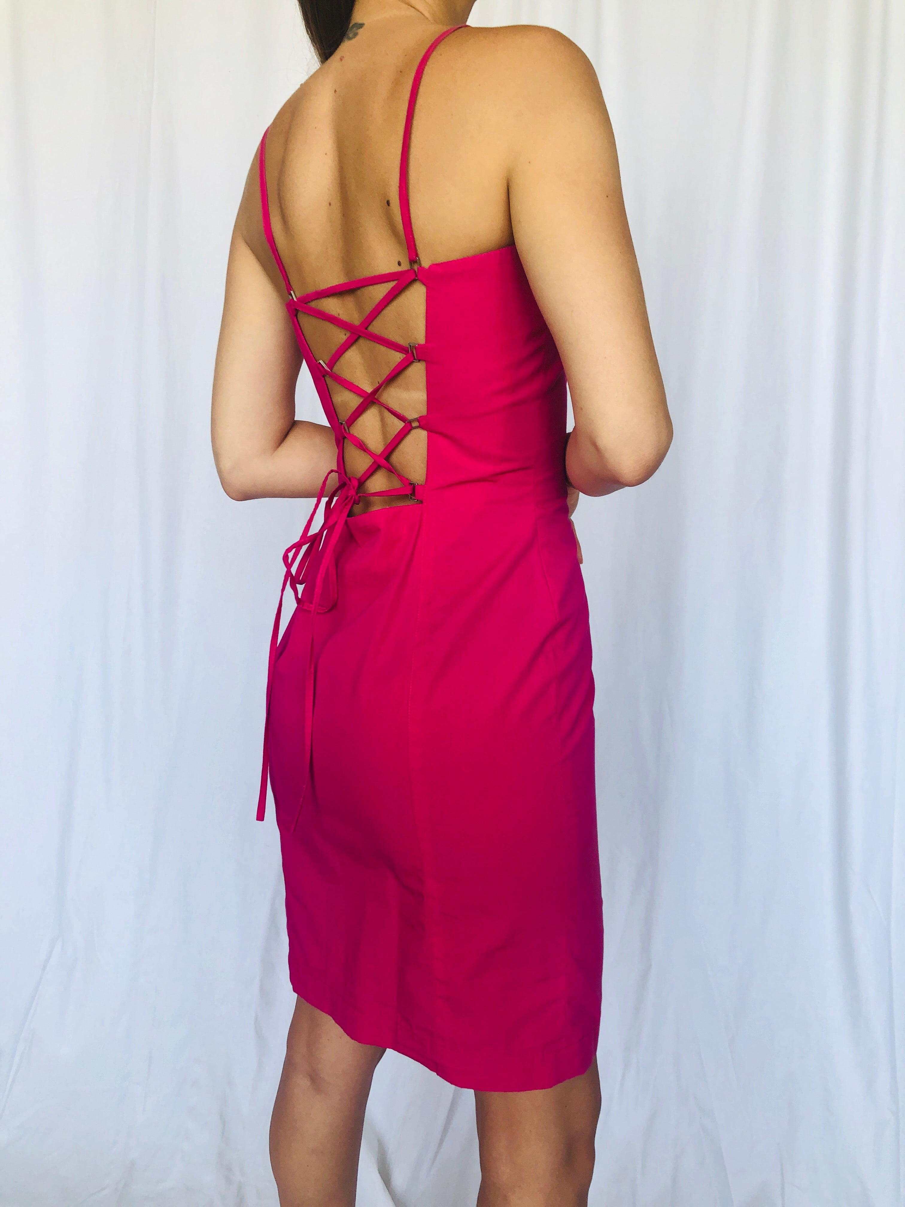 Mugler Vintage Tie Up Lace Open Back Cotton Pink Dress S XS