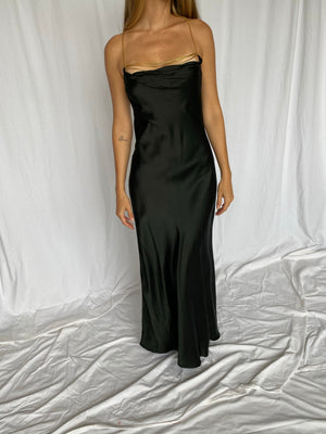 Hugo Buscati Silk Chain Halter Maxi Formal Slip Dress 8 M