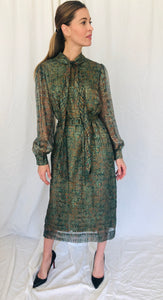Silk Farm Vintage Paisley Lurex Metallic Gold Green Pussy Bow Sheer Dress M